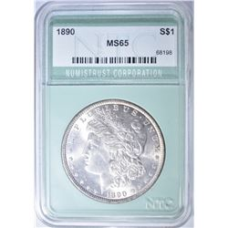 1890 MORGAN DOLLAR MS 65
