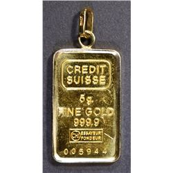 5 GRAM .999 PURE GOLD BAR IN 14K GOLD PENDANT