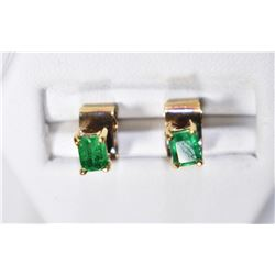 14K GOLD AND EMERALD EARINGS