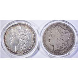 1880-O AU & 1902 VG MORGAN DOLLARS