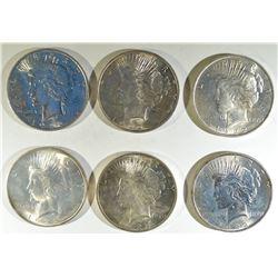 (5) 1922  AND 1922-D PEACE DOLLARS BU