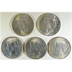 (5) 1923 PEACE DOLLARS BU