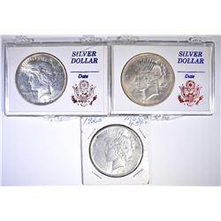 2 1922 & 25 PEACE DOLLARS BU
