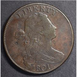1801 DRAPED BUST LARGE CENT  F
