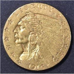 1914 $2.5 GOLD INDIAN BU