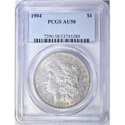 1904 MORGAN DOLLAR, PCGS AU-58