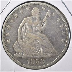 1858 SEATED HALF DOLLAR, FINE
