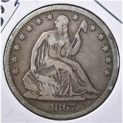 1867-S SEATED HALF DOLLAR, FINE