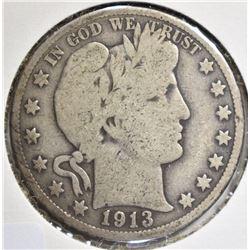 1913 BARBER HALF DOLLAR, GOOD