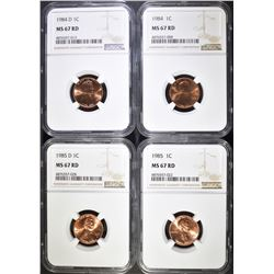 1984, 84-D, 85& 85-D LINCOLN CENTS, NGC MS-67 RED