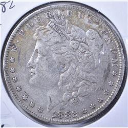 1882-O/S MORGAN DOLLAR, FINE
