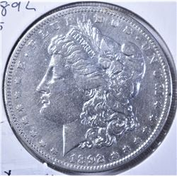 1892-S MORGAN DOLLAR, XF