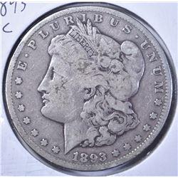 1893--CC MORGAN DOLLAR, VG/FINE