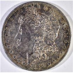 1880-O MORGAN DOLLAR, AU/BU TONING