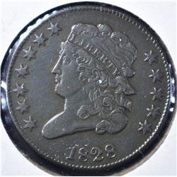 1828 12-STARS HALF CENT, XF