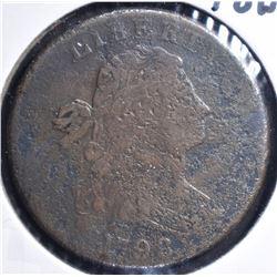 1798 LARGE CENT, VG/FINE porous