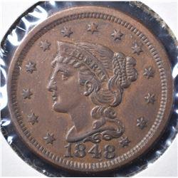 1848 LARGE CENT, BETTER DATE AU