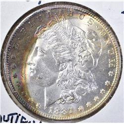 1887 CH BU MORGAN DOLLAR BEAUTIFUL TONING