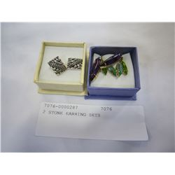 2 STONE EARRING SETS