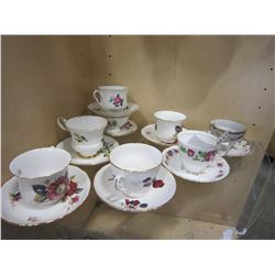 8 MATCHING CHINA CUPS AND SAUCERS, QUEEN ANNE AND OTHERS