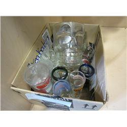 BOX OF SHOT GLASSES AND SKULL MUGS
