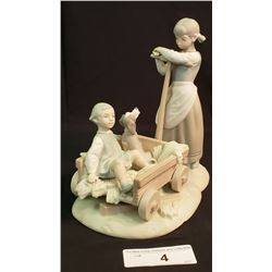 Lladro 2 Girls With Wagon And Dog