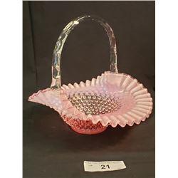 Cranberry Fenton Glass Basket