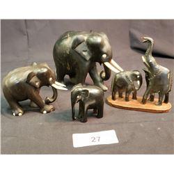 Lot Of 4 Carved Elephants