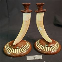 Carved Bone And Porcupine Candle Stick Holders