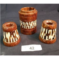 Lot Of Porcupine Candle Stick Holders And Cup