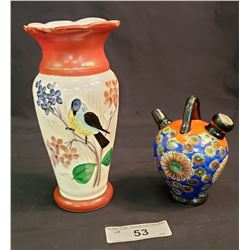 Two Decorative Pieces,  Vase And Soya Sauce Pot