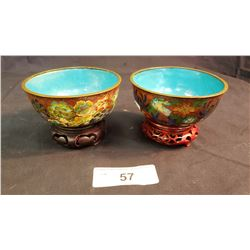 Pair Of Cloisonne Bowls
