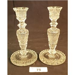 Pair Of Crystal Candle Sticks