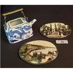 Pair Of Decorative Plaques And Asian Teapot