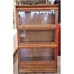 Oak 3 Tier Barrister Book Case