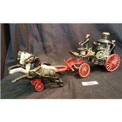 Large Cast Iron Horse Drawn Fire Engine
