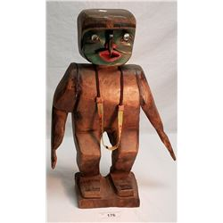 """Vintage Hand Carved Native Statue """"Man Of The Woods"""" W/ Abolony Eyes And Beaded Necklace"""