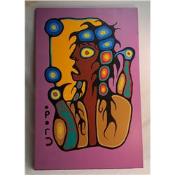 """Native Oil Painting On Canvas """"Chimo"""" Christian Morriseau"""