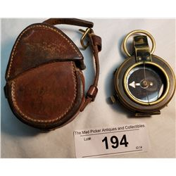 Antique Military Compass W/ Leather Case