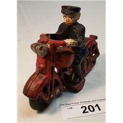 Cast Iron Policeman On Motorbike Toy
