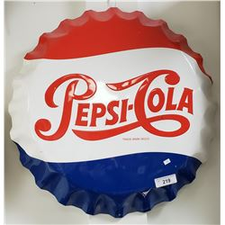 Pepsi Cola Bottle Cap Sign, Metal