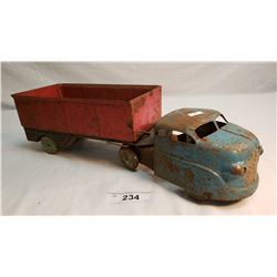 Vintage Pressed Steel Semi Truck And Trailer.