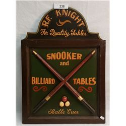 Pool And Billards Wood Sign