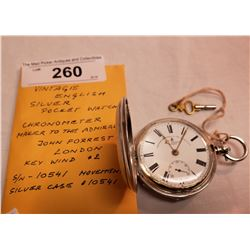 Vintage English Silver Pocket Watch