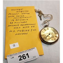 Vintage English Pocket Watch Key Wind