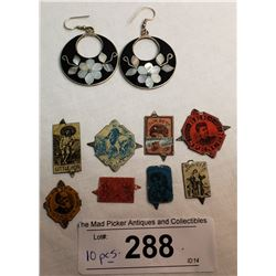 Set Of Sterling Silver Earrings And 8 Tobacco Tags.