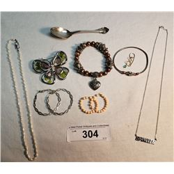 9 Pieces Assorted Jewelry And Spoon