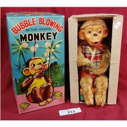 Vintage Bubble Blowing Monkey Toy
