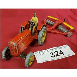 Vintage Massey Harris Tractor And Disc Dinky Toys
