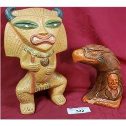 Aztec Warrior Ceramic Figure And Native Eagle Ornament